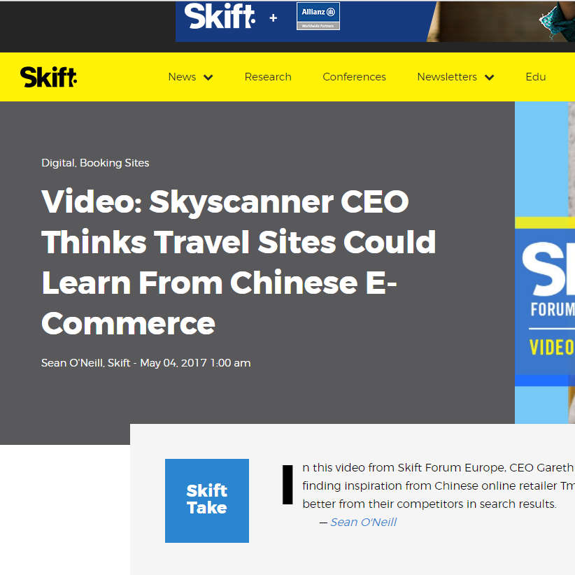 Skyscanner CEO at Skift Forum Europe