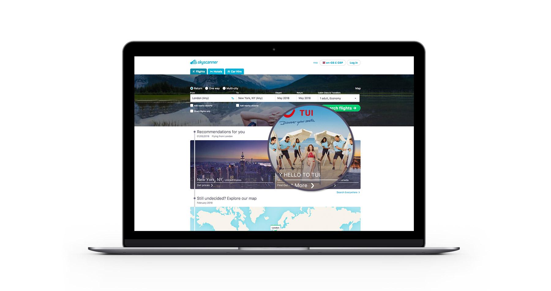Skyscanner homepage tile