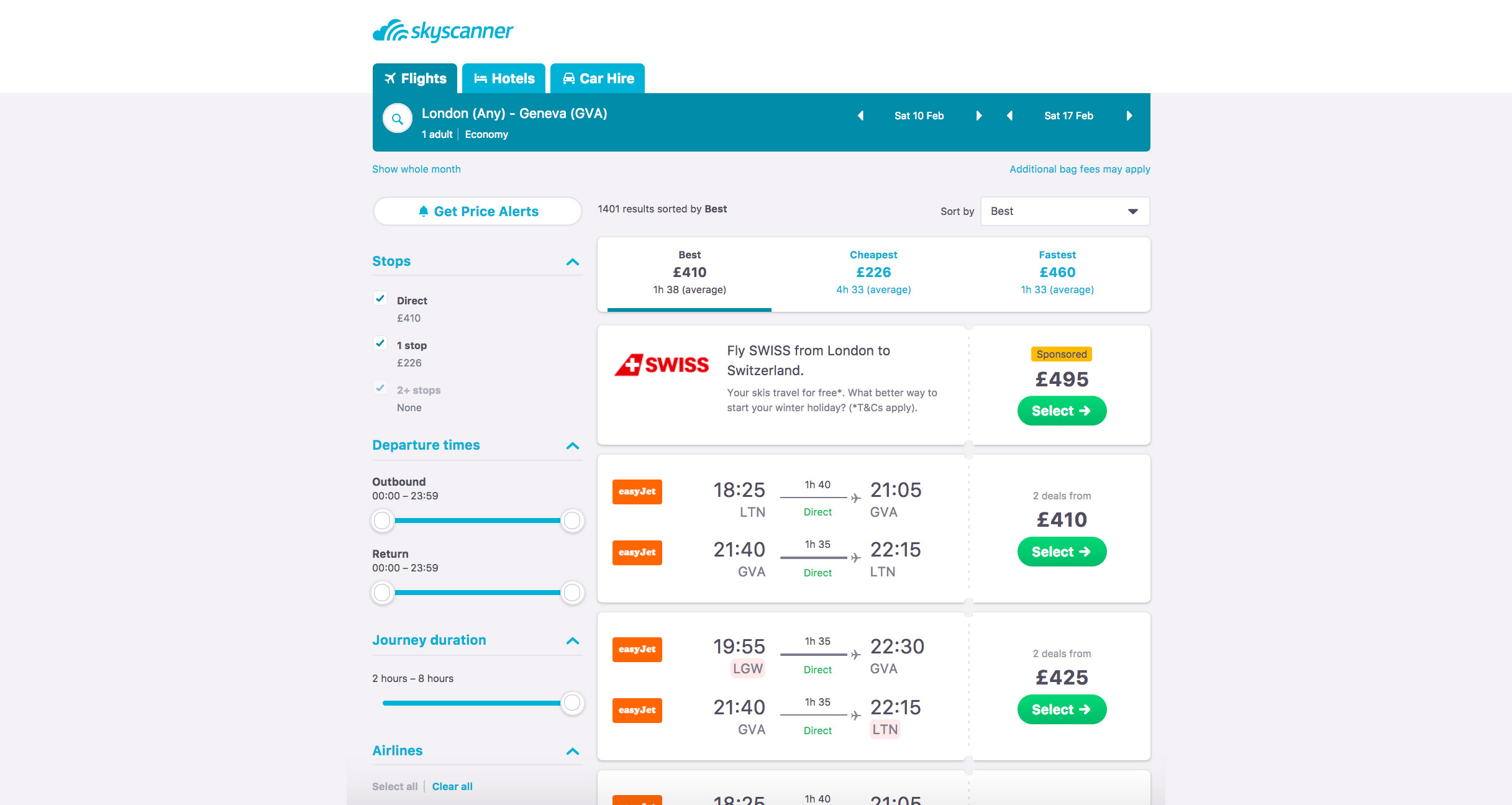 Skyscanner in-line advertising