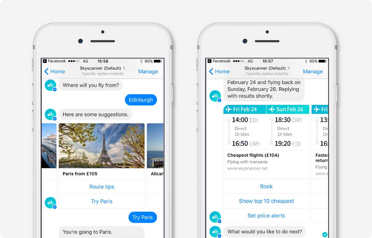 Skyscanner on Facebook Messenger