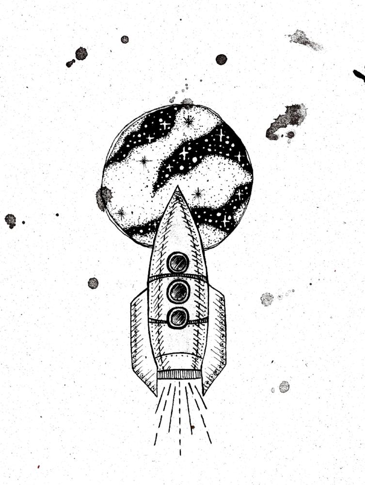 Journey to the moon | Rocket illustration