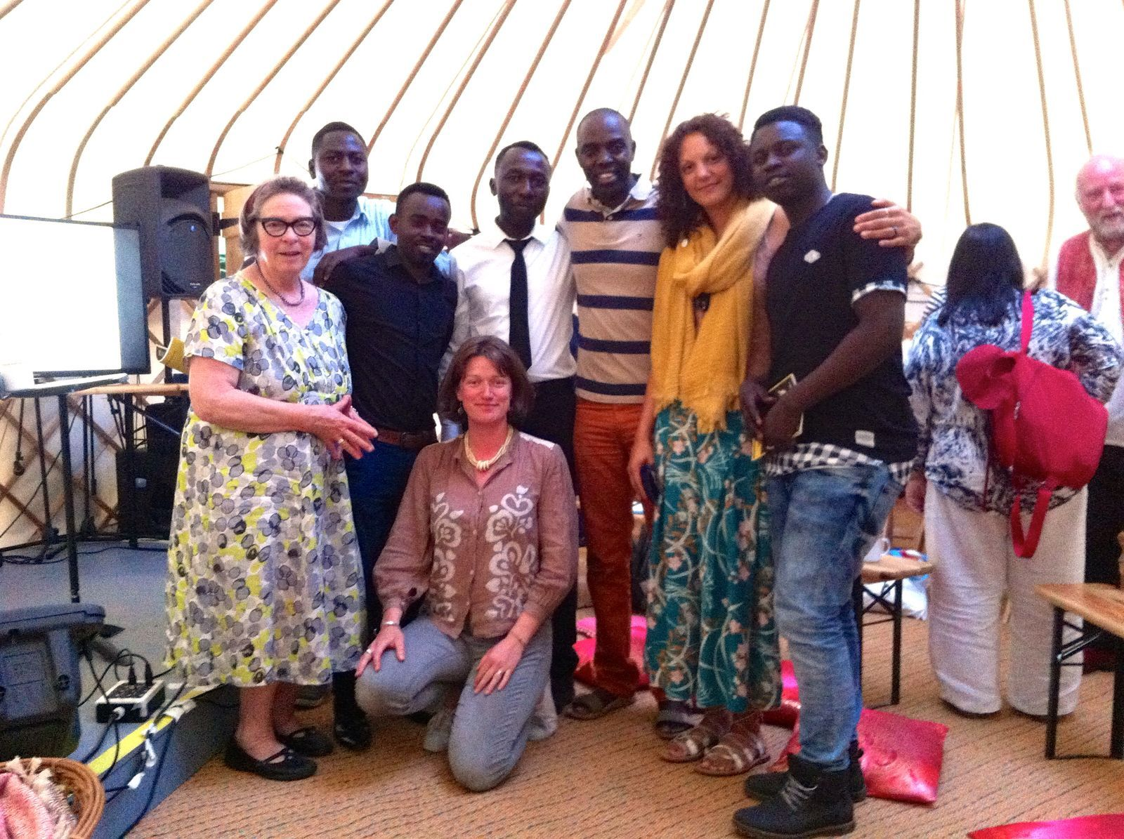 Happiness All Around crew Meeting Alex Mvuka Ntung at Wise Words Festival, Canterbury, UK, 2016