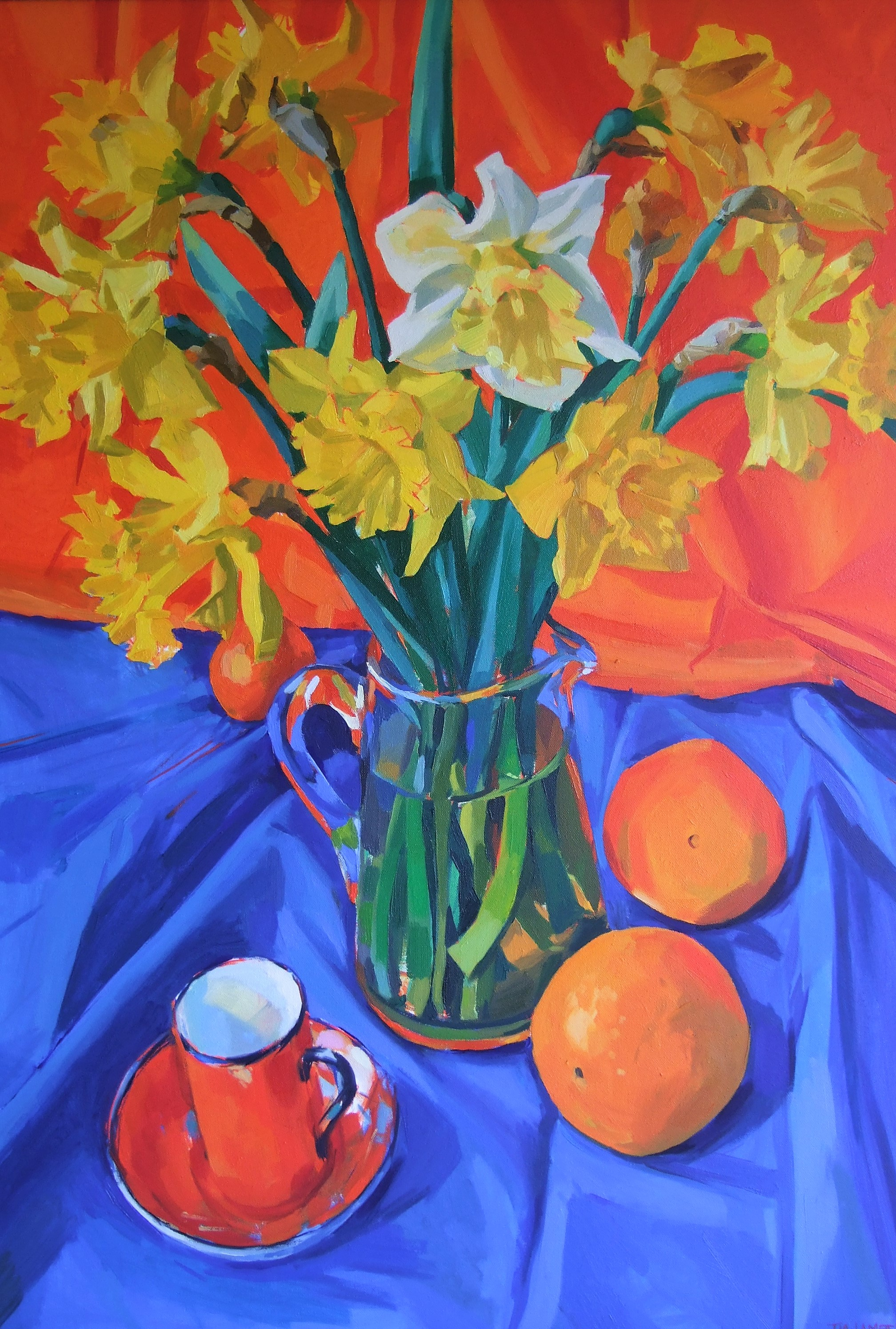"""Spring Still Life"" OIL 28""x38"" on display at The Coach House Theatre"