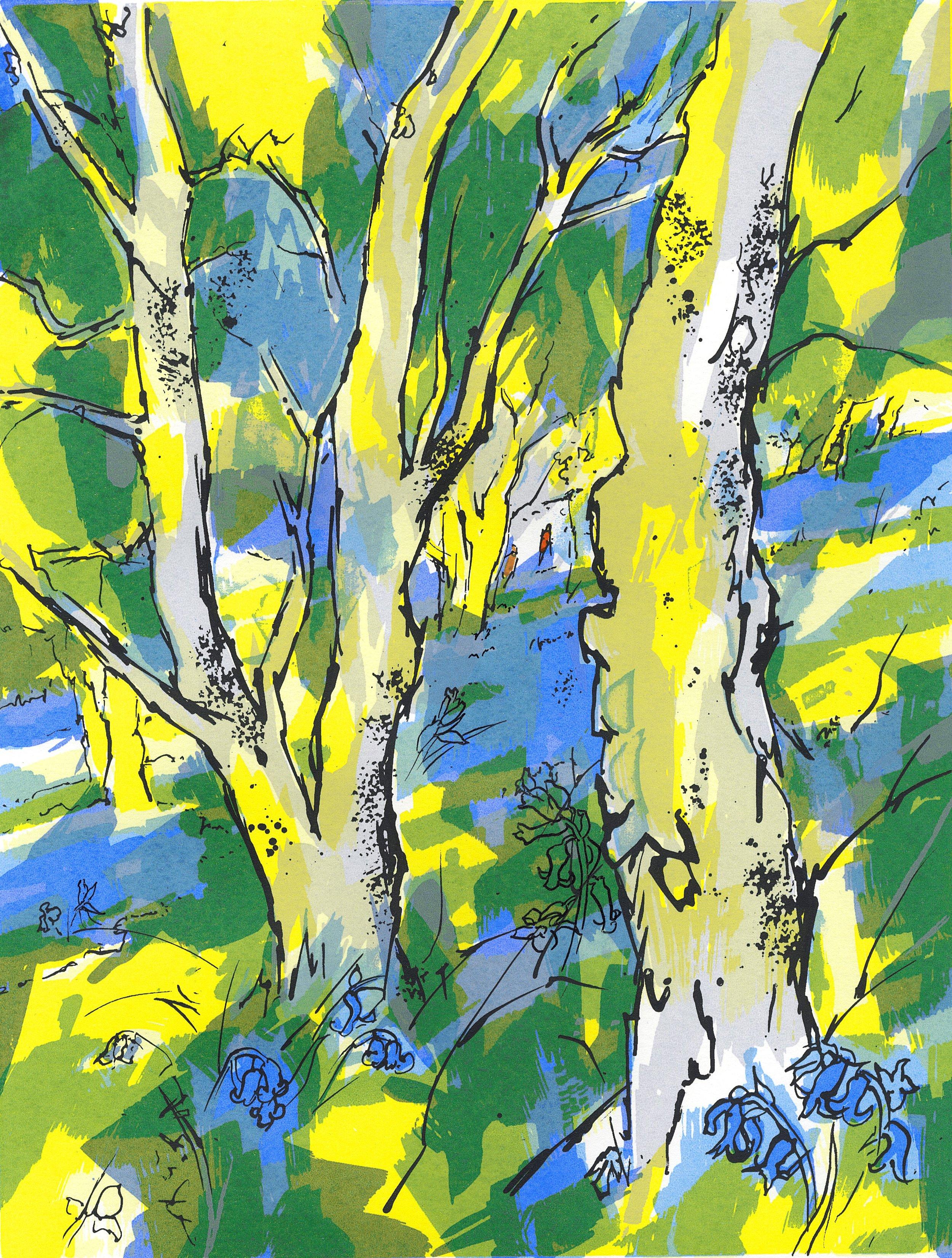 Blackhill Bluebells, screenprint sold at Crickhowell Open Art Exhibition