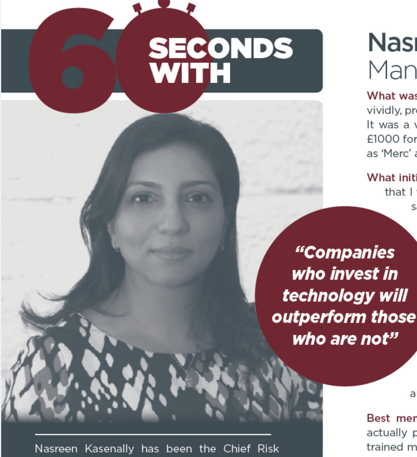 60 Seconds With Nasreen Kasenally - Chief Risk Officer, UBS Asset Management and UBS Group EMEA
