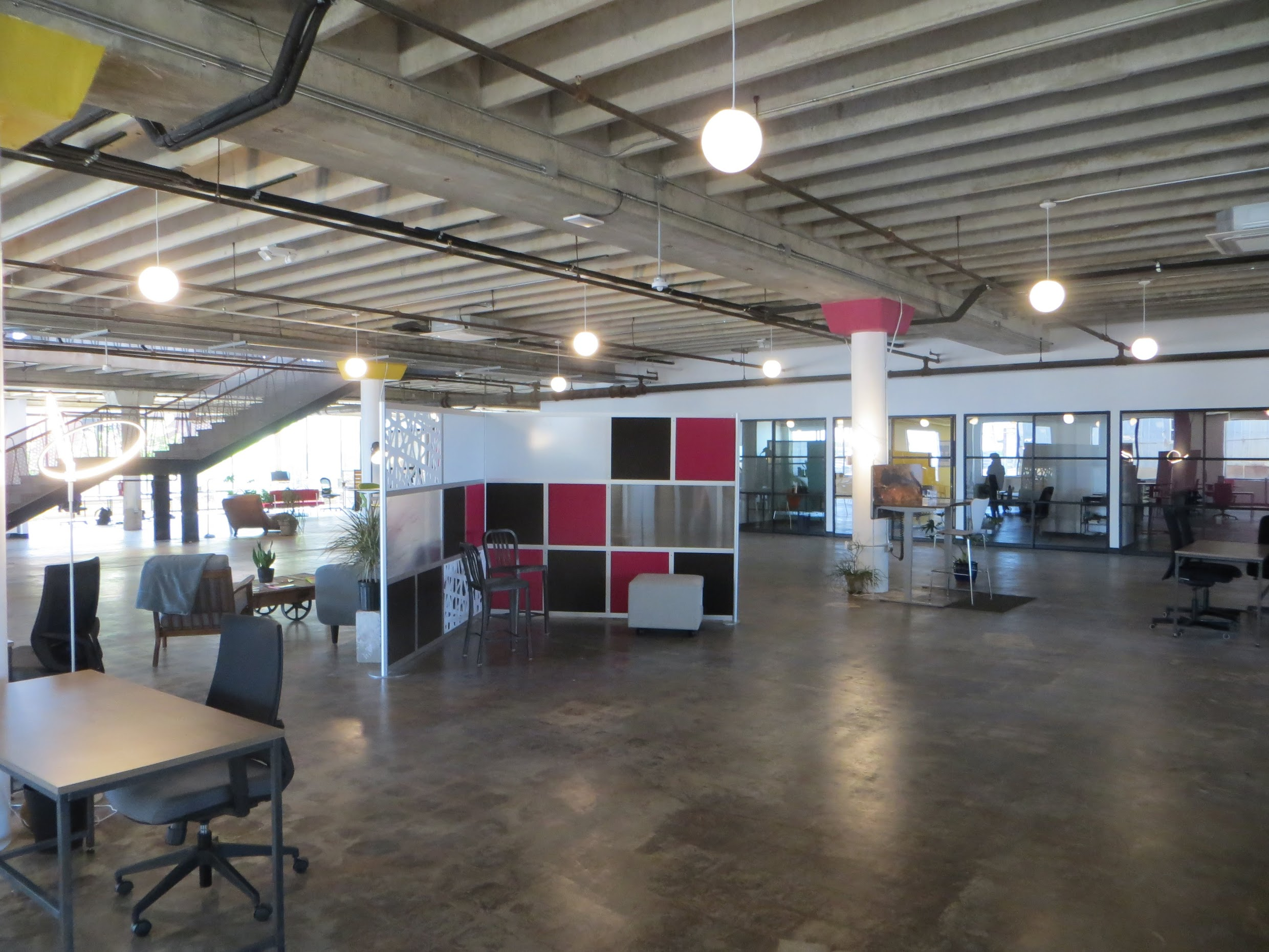A view of the common working area. This is where our staff will be able to find places to work and collaborate.