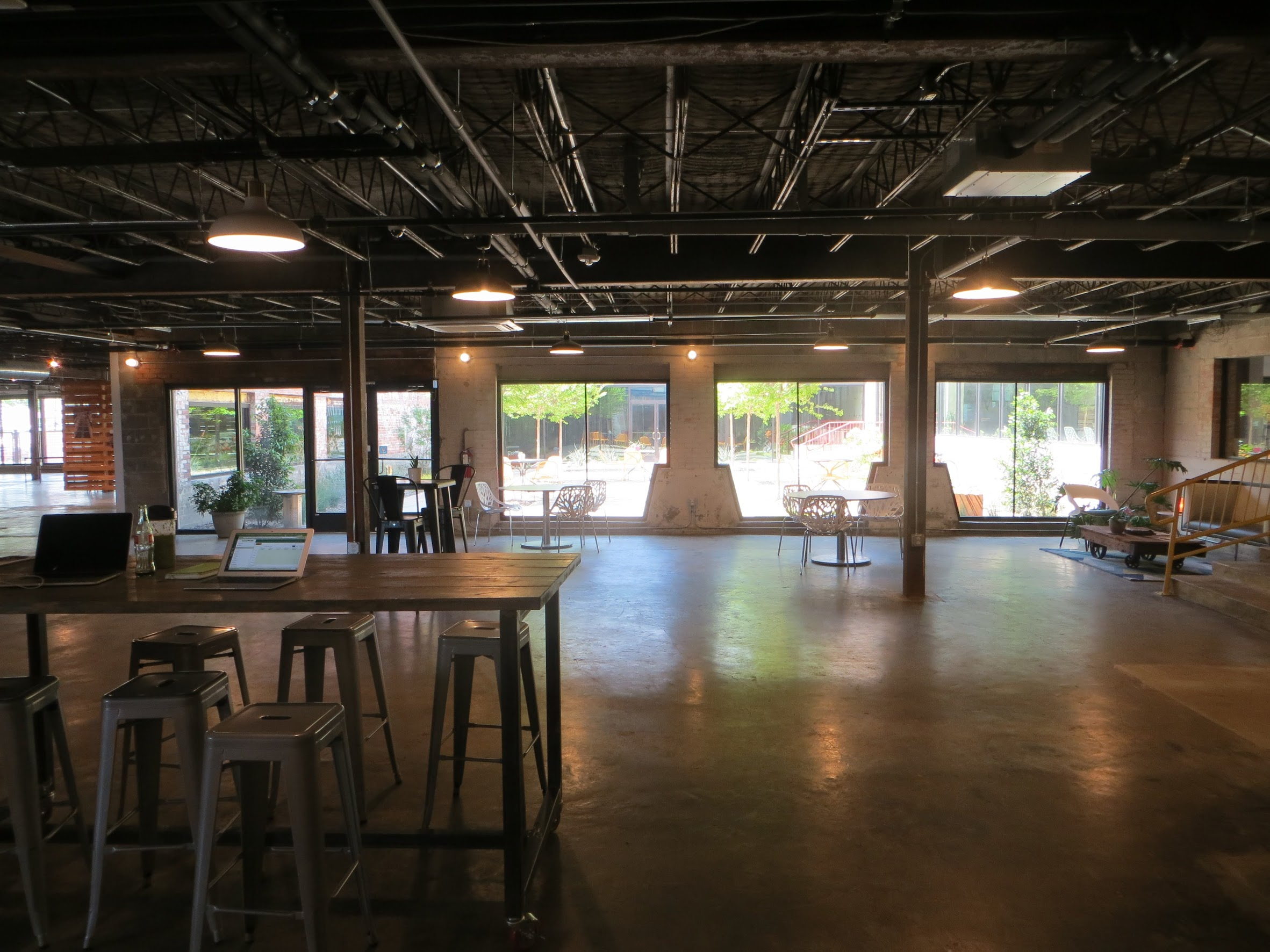 Community common area for eating and mingling. Soon, there will be a coffee shop directly across the courtyard!