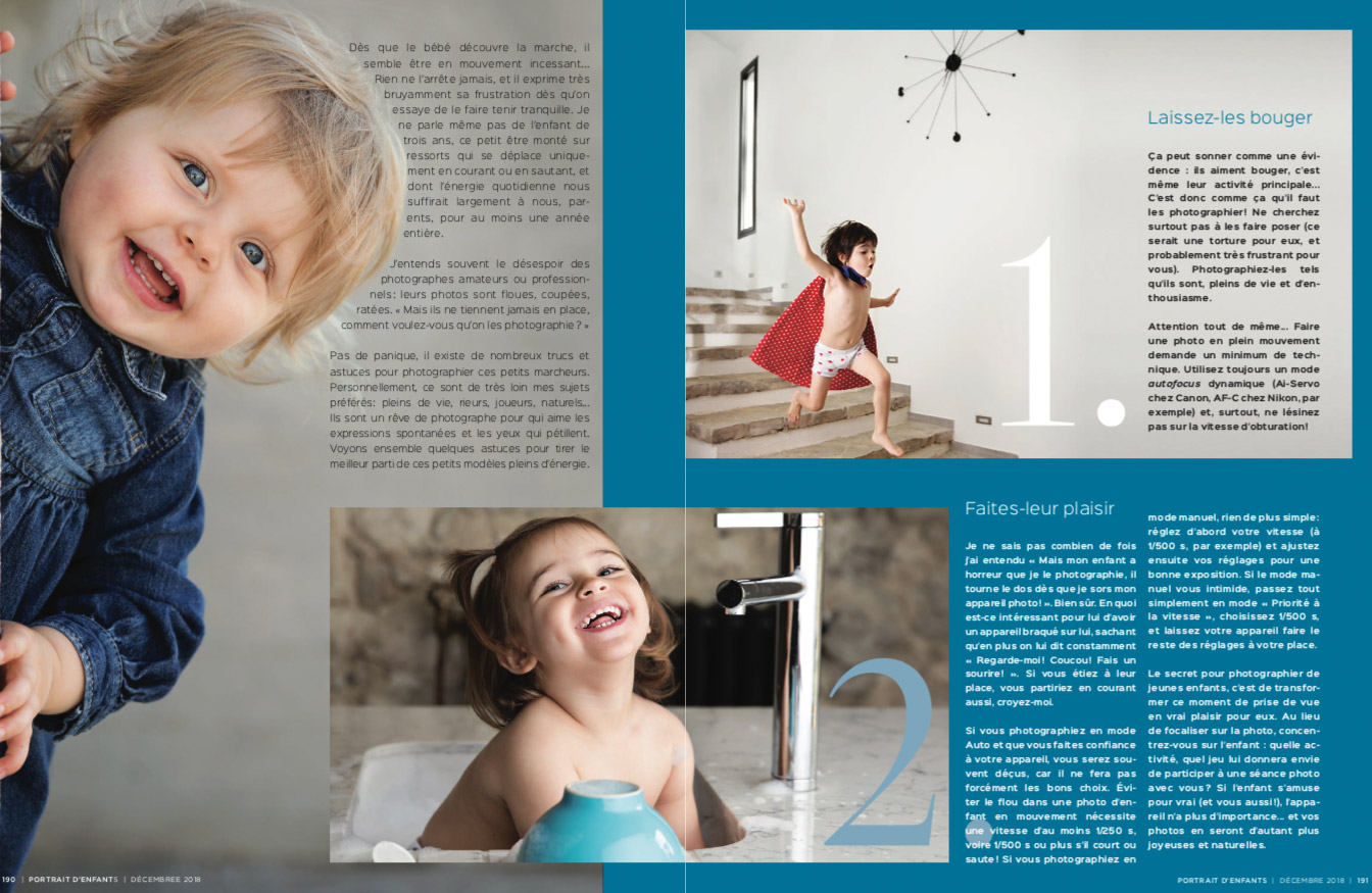 Conseils pour photographier les jeunes enfants par Lisa Tichané pour le magazine Portrait d'Enfants