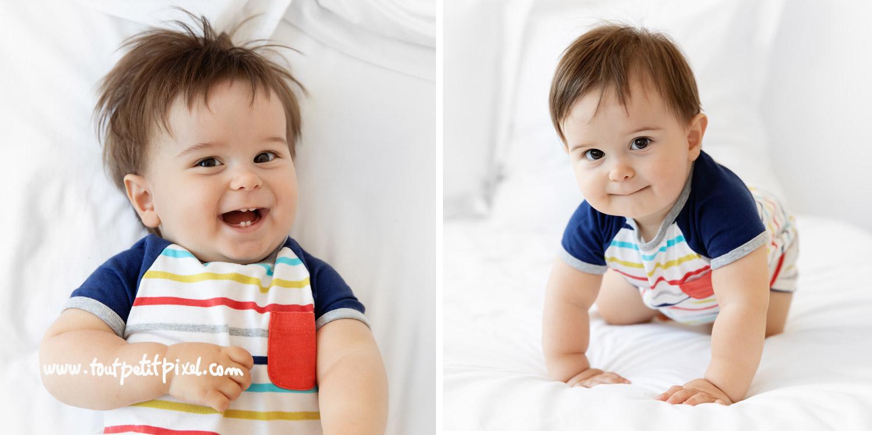Photos de bébé de 13 mois sur un lit blanc par Tout Petit Pixel, photographe bebe Marseille