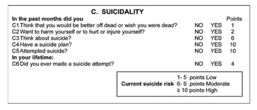 FIGURE 2. ITEMS, SCORE WEIGHTS, AND SUMMARY SCORES FOR CATEGORY C. SUICIDALITY (MINI NEUROPSYCHIATRIC INTERVIEW (ROALDSET ET AL.)