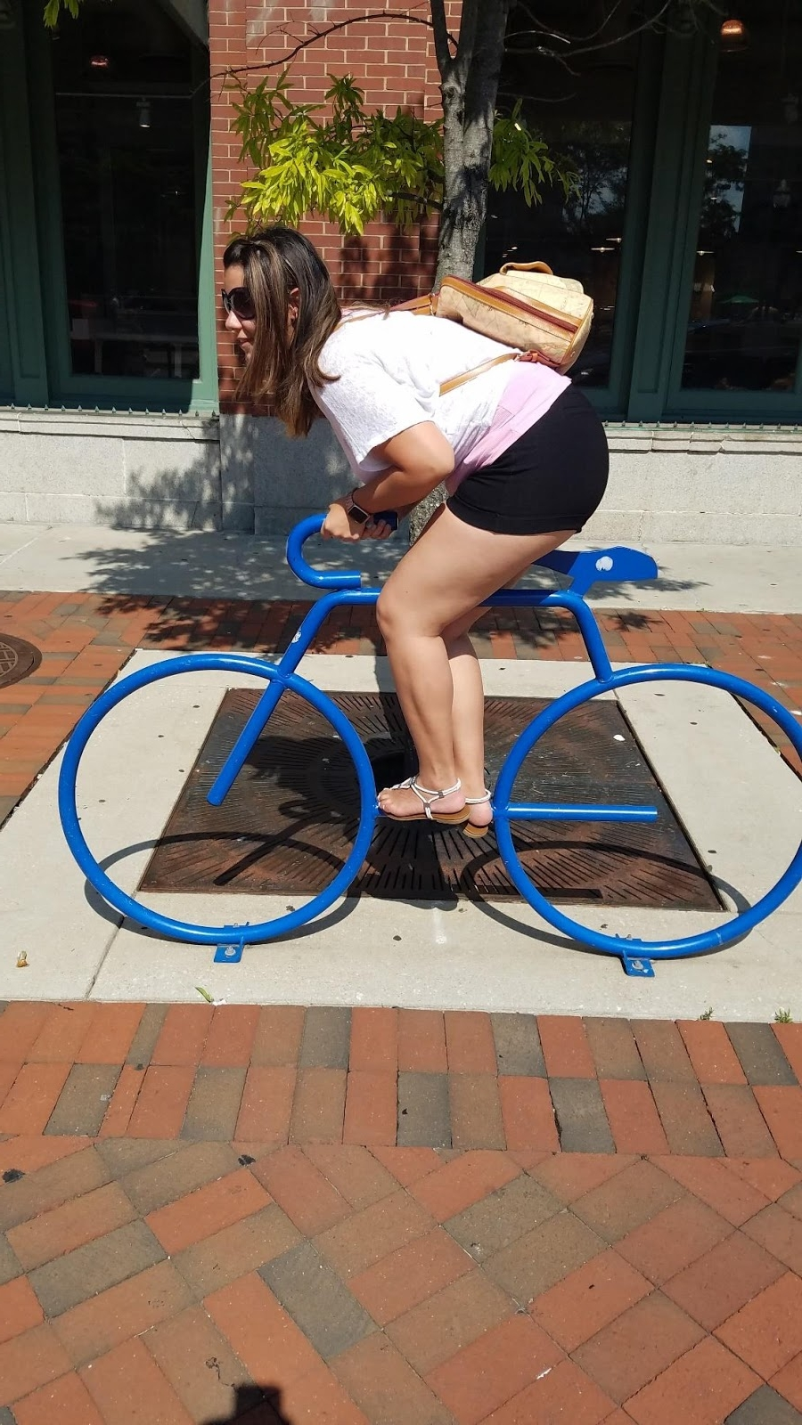 After leaving the aquarium, we took a look at a bike rack that Miranda thought was a real bike.