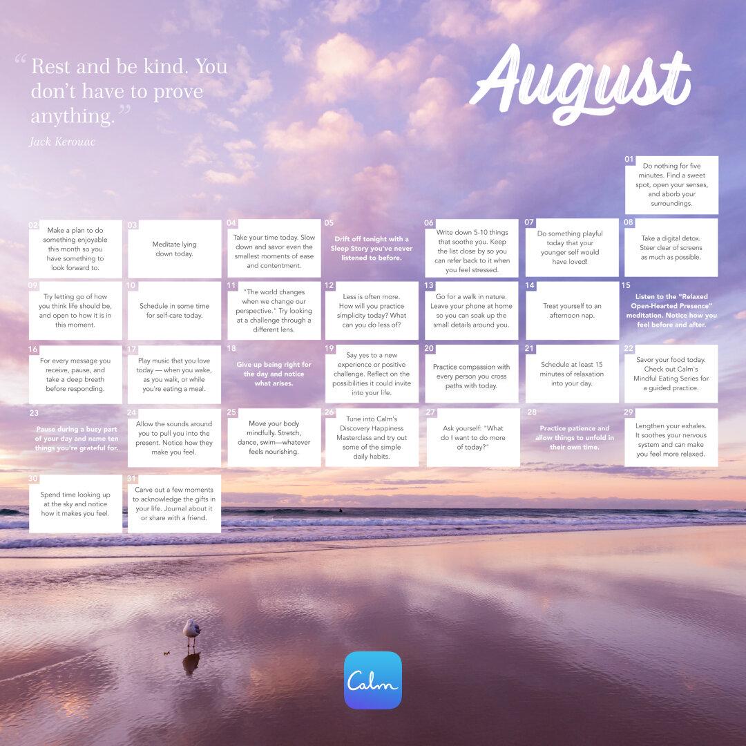 August 2021 Calm Calendar #rwanda #RwOT