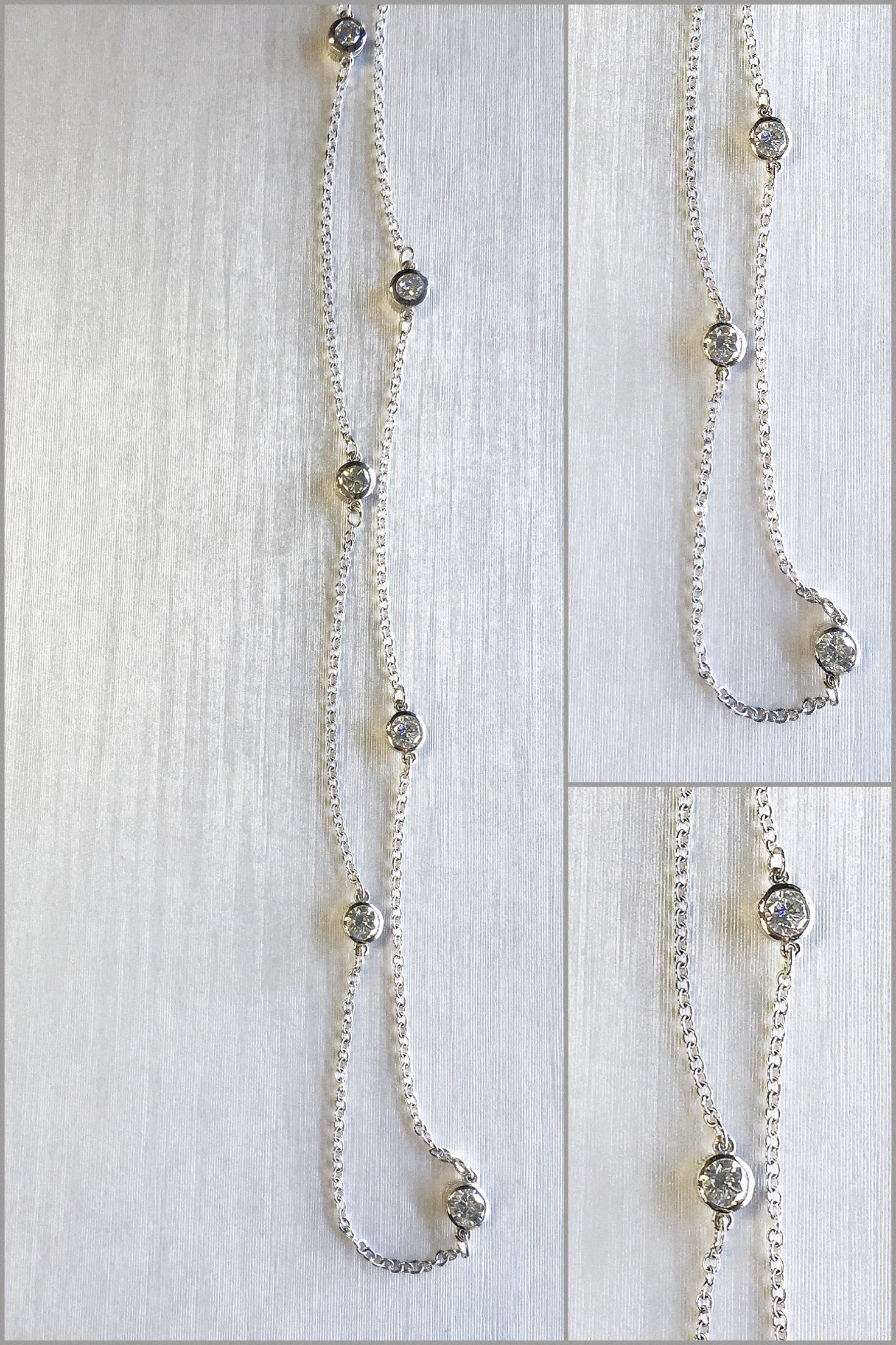 14K White Gold Diamonds By The Yard Necklace made with Customers Diamonds.