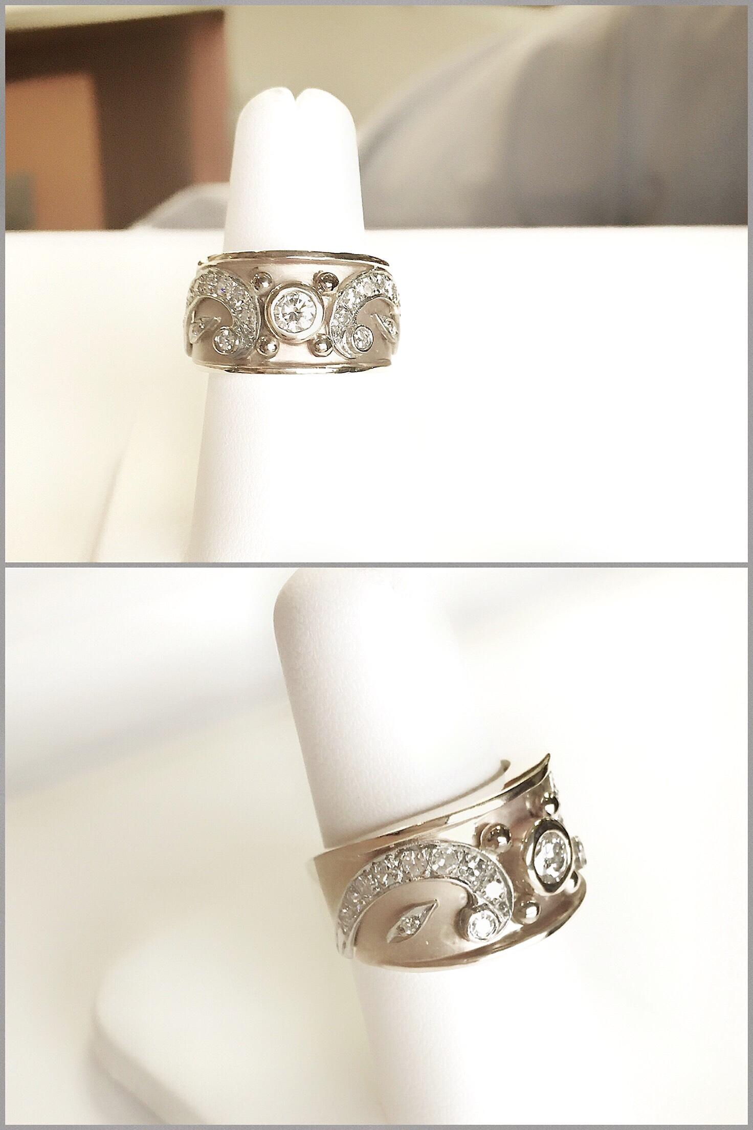 Two Tone Diamond Byzantine Ring made with customers pair of Diamond Paisley Earrings.