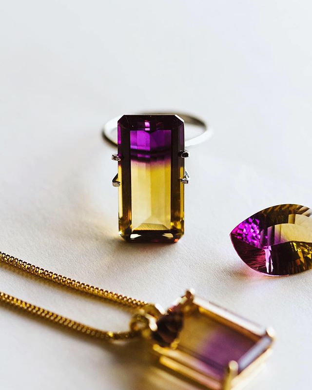 Who's ready for the game tomorrow? 🦁✨ • We have just the pieces for you to show your support all season long! Whether you'd like to rep your team colors wearing our already set ametrine necklace, make something custom using our loose elongated emerald cut ametrine (pictured in a display gemstone holder), or maybe make a set of cufflinks or earrings with our two loose free-form shaped ametrines! The options are yours! GO TEAM!! 💜💛 - - - #lakecharles #louisiana #finejewelry #fall #footballseason #collegefootball #lsu #lsutigers #football #ametrine #customjewelry #supportlocal #repyourstate #october #ametrinenecklace #yellowgold #purpleandgold