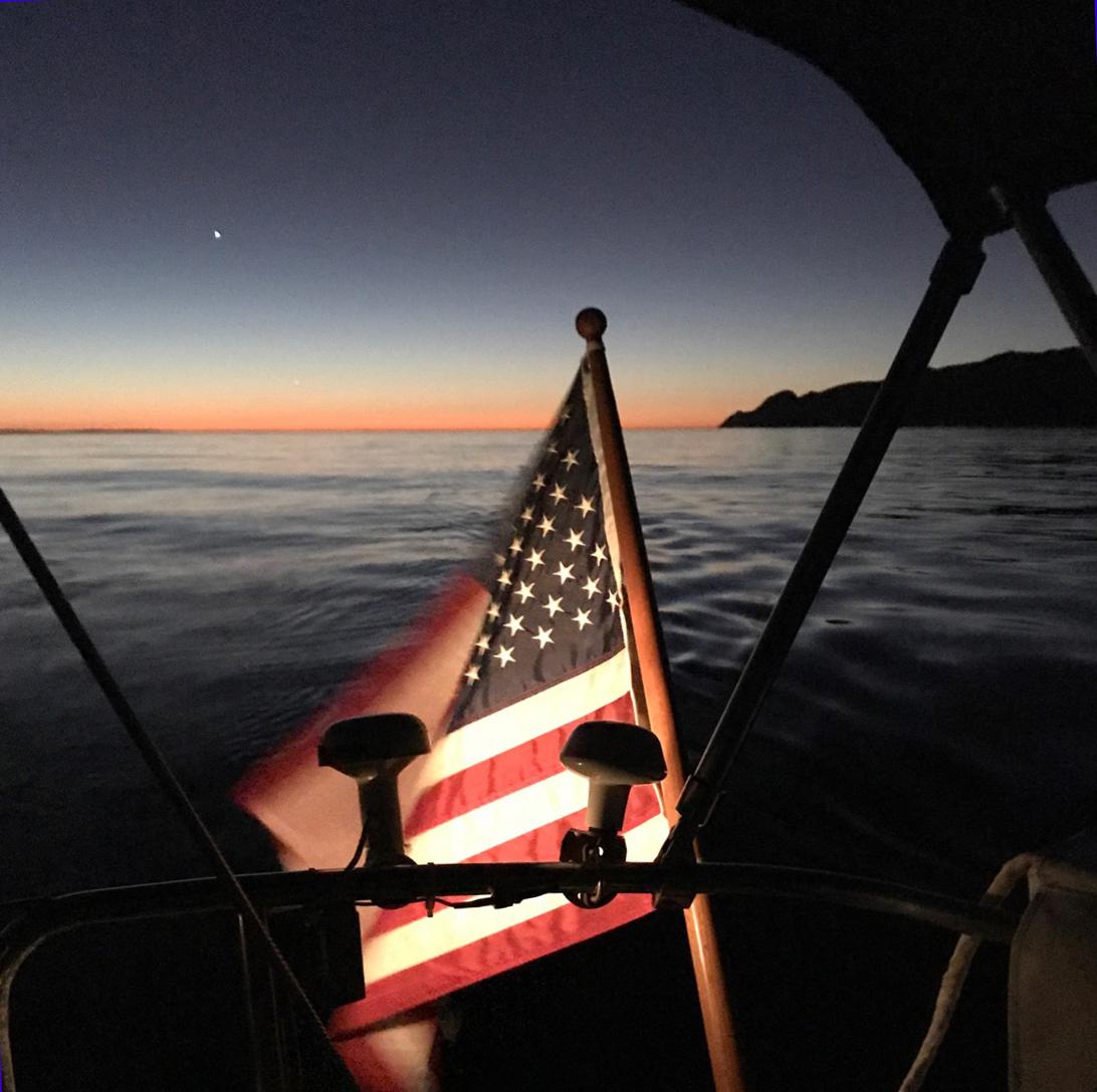 Sunrise en route to Big Geiger cove