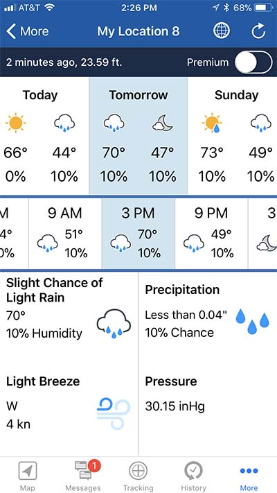 "A sample of the free forecast as it appears on the iPhone thru the Bluetooth link. Shown is the 3 PM forecast for ""Tomorrow."" A more detailed forecast is available for a premium."