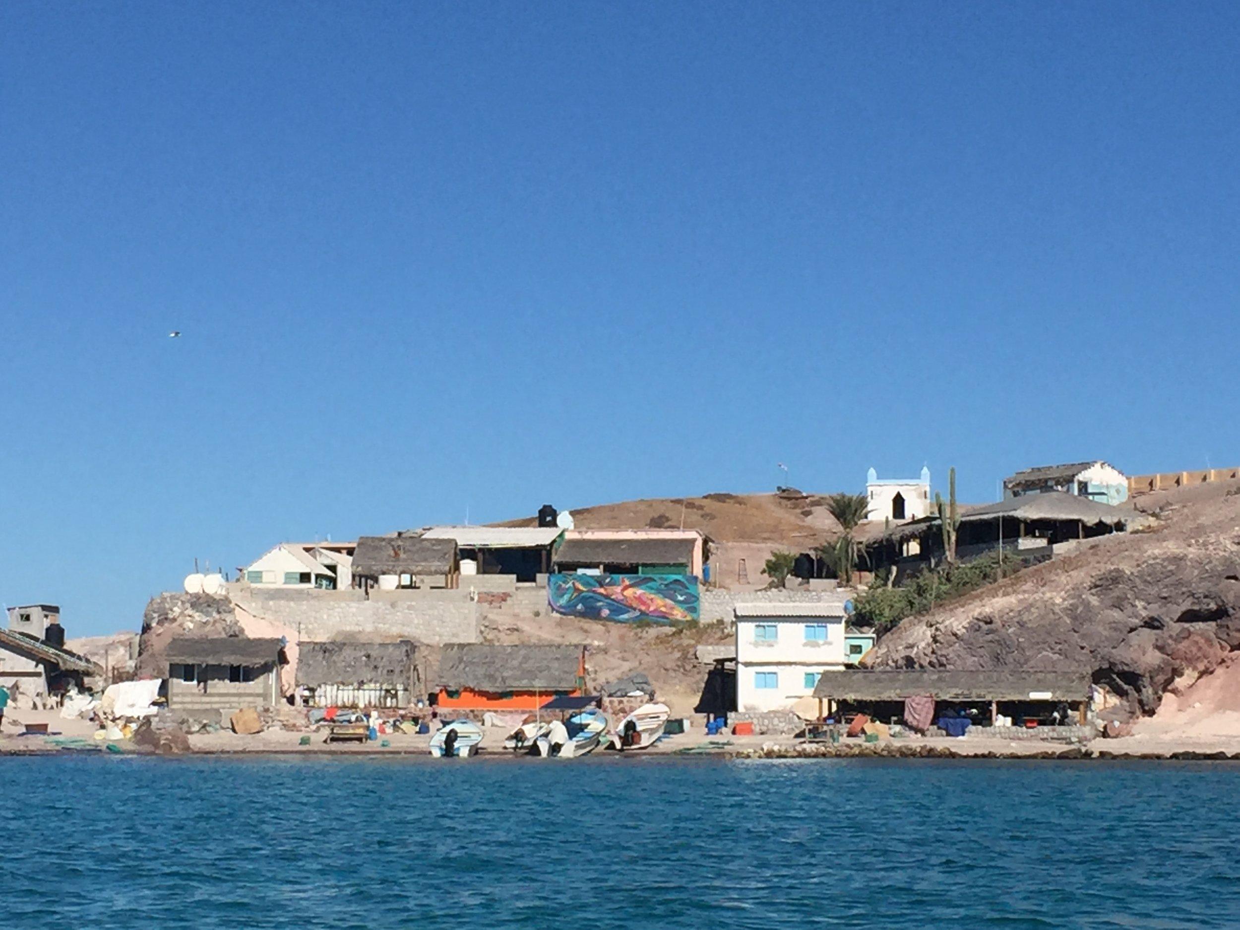 The fishing village on Isla Coyote