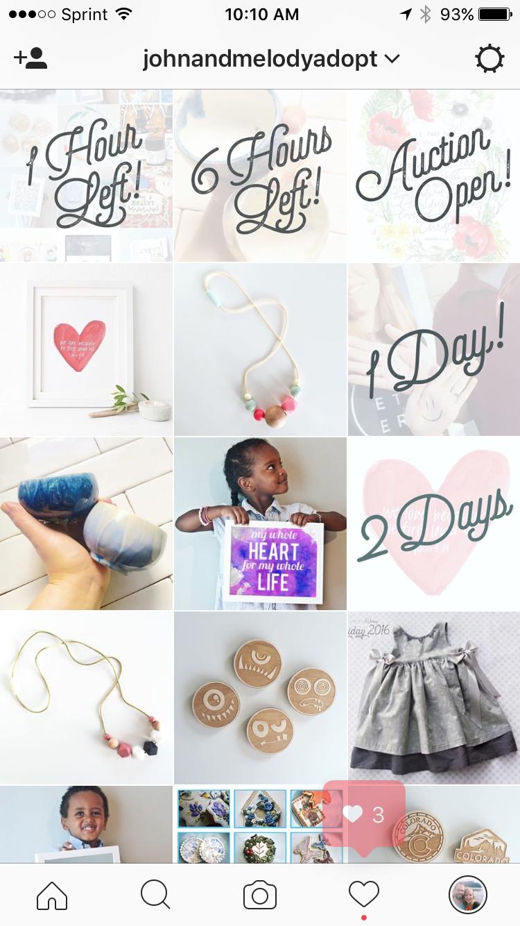 Screenshot of Instagram adoption auction