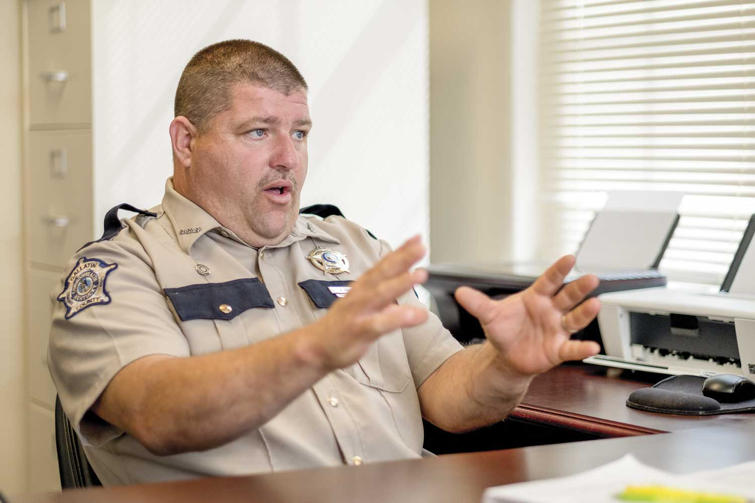 Gallatin County Sheriff Josh Neale strives to offer the best coverage and service to the county's 8,500 residents. He says he enjoys the personalized interaction his officers can offer the community. (Photos by Jim Robertson)