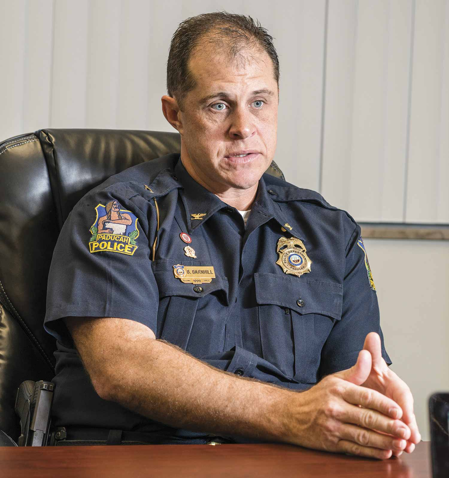 Paducah Police Chief Brandon Barnhill pushes his department toward positive community understanding and interaction. He hopes the knowledge gained through the agency's new Cultural Leadership Academy will infiltrate the ideas and actions of the entire department over time. (Photo by Jim Robertson)