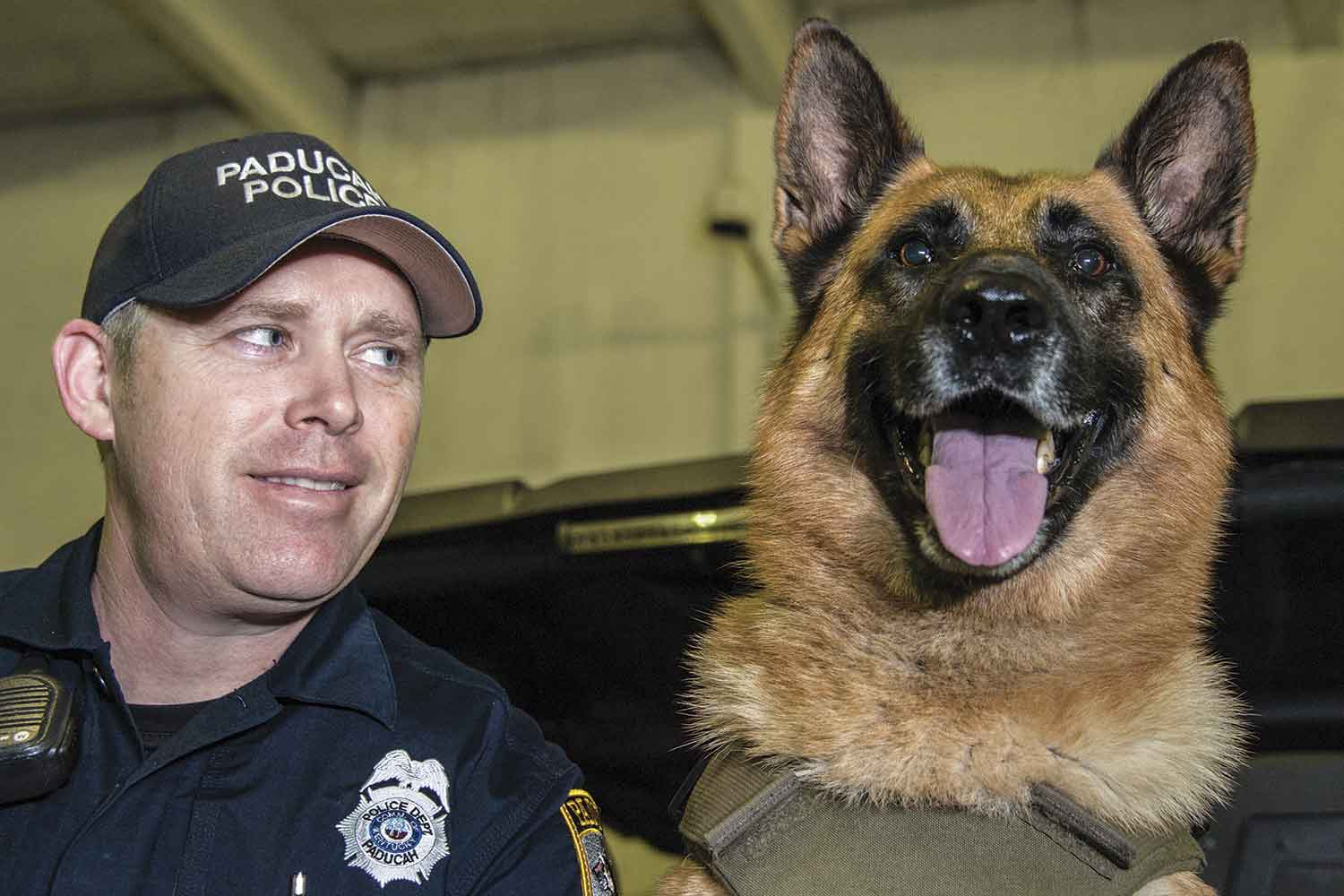 Paducah Police K-9 Officer Lofton Rowley Jr. knew at first sight that Fox was the perfect dog for him. That feeling was solidified when he brought Fox home and his Vohne Liche kennel-issued collar number was the same as his badge number — 278. The hard-working, people-loving K-9 has been a perfect match for Rowley for the past five years. (Photo by Jim Robertson)