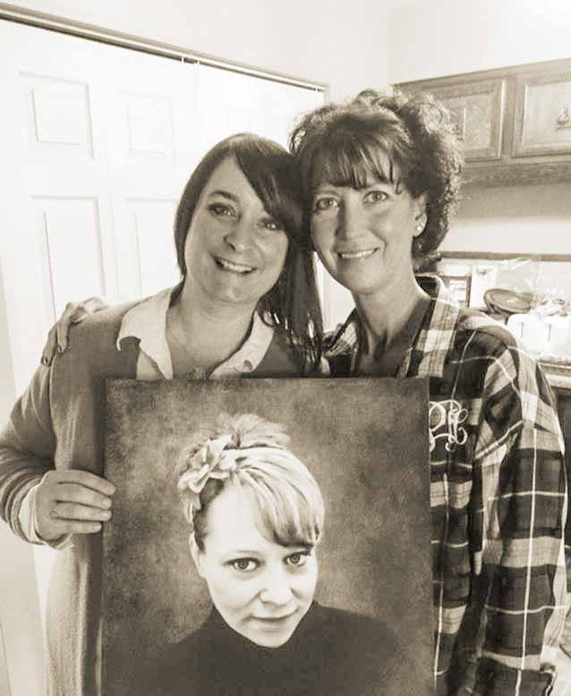 Jennifer Powell, right, and her sister, Jessica Scott, hold a portrait of their sister, Jolene Bowman, who died of an overdose in July 2015 when she was given a counterfeit pill that contained fentanyl.