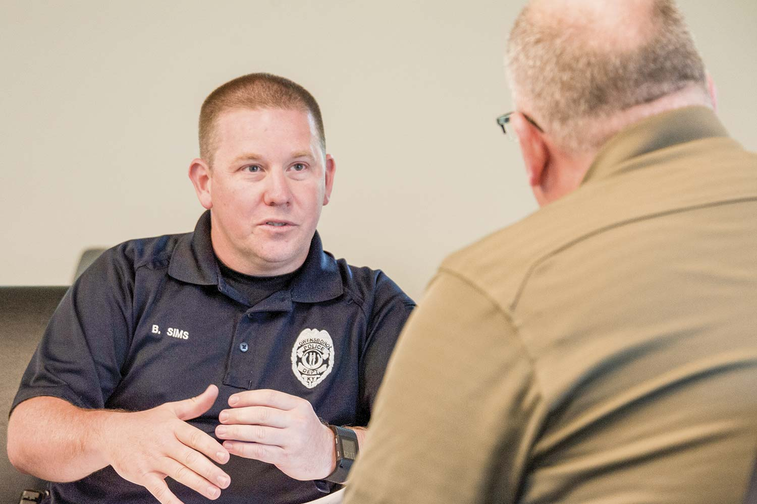 Owensboro Police Sgt. Brandon Sims said the brotherhood of law enforcement plays a role in his decision to serve as a peer member of the KYLEAP team. (Photo by Jim Robertson)
