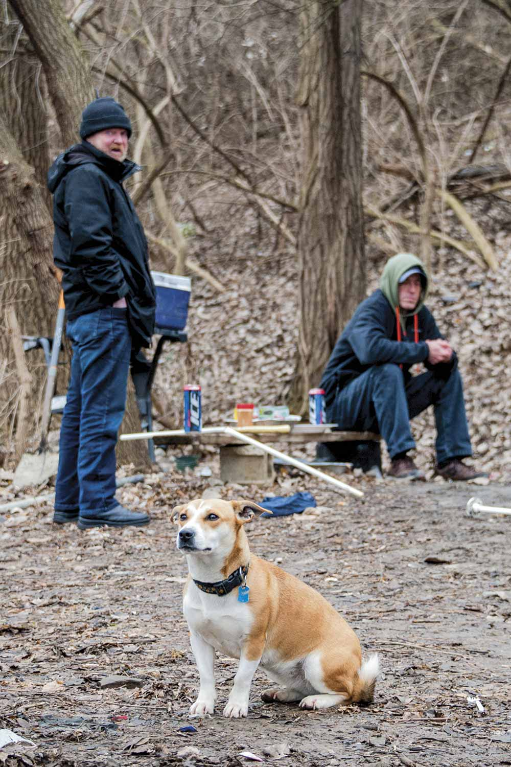 It is not unusual for homeless residents to own pets, NPD Lt. Kevin Drohan said. This becomes an additional concern for those who want to seek housing on cold nights in shelters where animals are not welcome. (Photo by Jim Robertson)