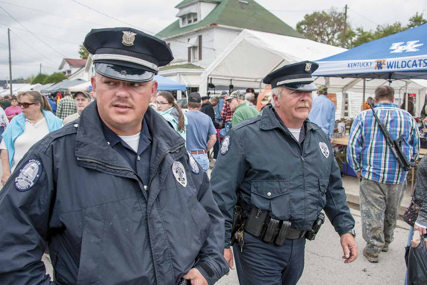 MSPD officers are required to work 12-hour shifts during Mount Sterling's Court Days Festival. The festival draws approximately 200,000 people to the community over the course of four days. Last year MSPD handled 298 complaints relating to the festival. (Photo by Jim Robertson)
