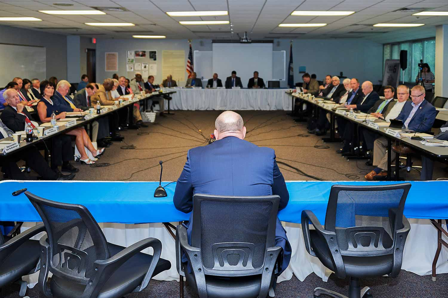 Department of Criminal Justice Training Commissioner Mark Filburn addresses legislators during a joint committee meeting hosted on DOCJT's Richmond campus. (Photo by Jim Robertson)