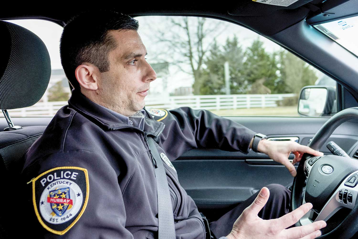 Murray Police Sgt. Sam Bierds has served MPD since 2010, and the recent Academy of Police Supervision graduate became a sergeant in July 2016. Bierds said his philosophy – which is shared by many on his shift and the agency as a whole – is that it is the day-to-day interactions and relationship building with the community that makes the department successful. (Photo by Jim Robertson)