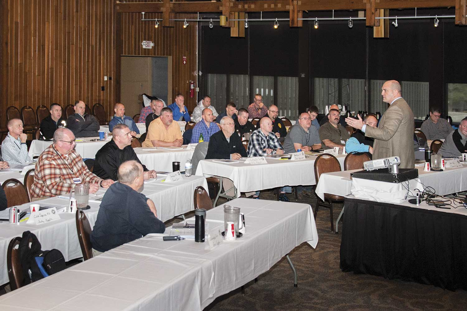 Mid-level officers from across the state attended the recent CLIME training in Barren River, which included the presentation about school safety. (Photo by Jim Robertson)
