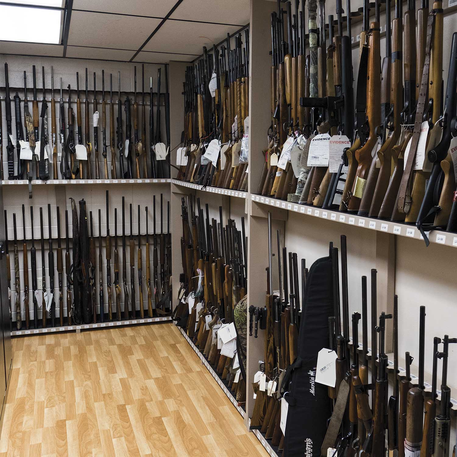 The Pulaski County Sheriff Office's property and evidence room also features a sizable room dedicated for firearms. (Photo by Jim Robertson)