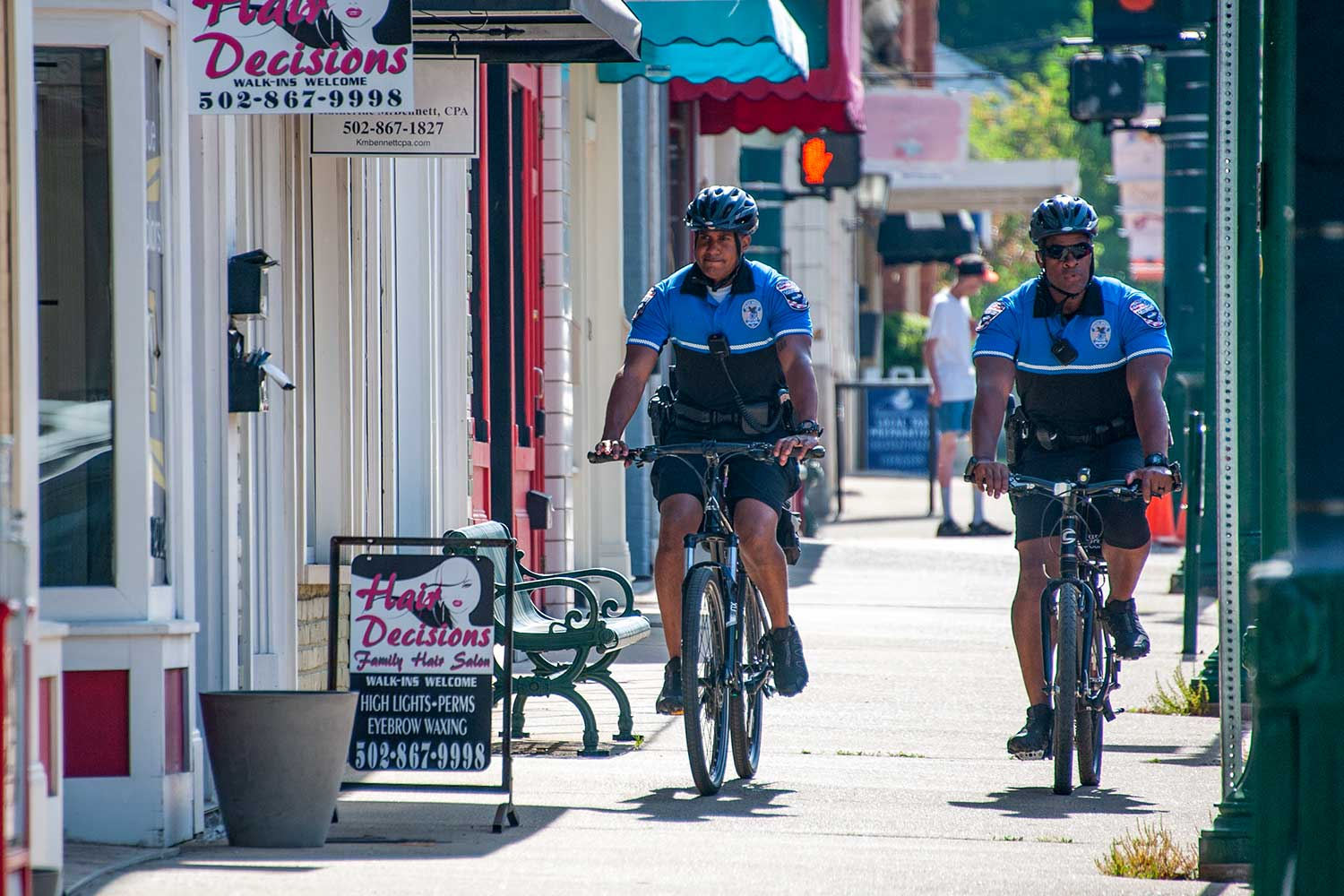 Officers RayShon Williams, left, and Brandon White are assigned to GPD's bicycle unit – one of the many specialized units the agency offers. (Photo by Jim Robertson)