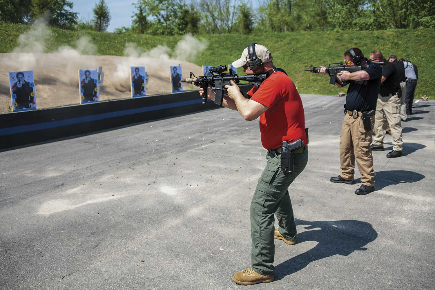 Officer Rodney Johnson fires his rifle during a recent training at the GPD firearms training facility. GPD Detective Steve Hess, who is assigned to the agency's training unit as a firearms instructor, said GPD officers regularly visit the range for both practice and qualifications. (Photo by Jim Robertson)