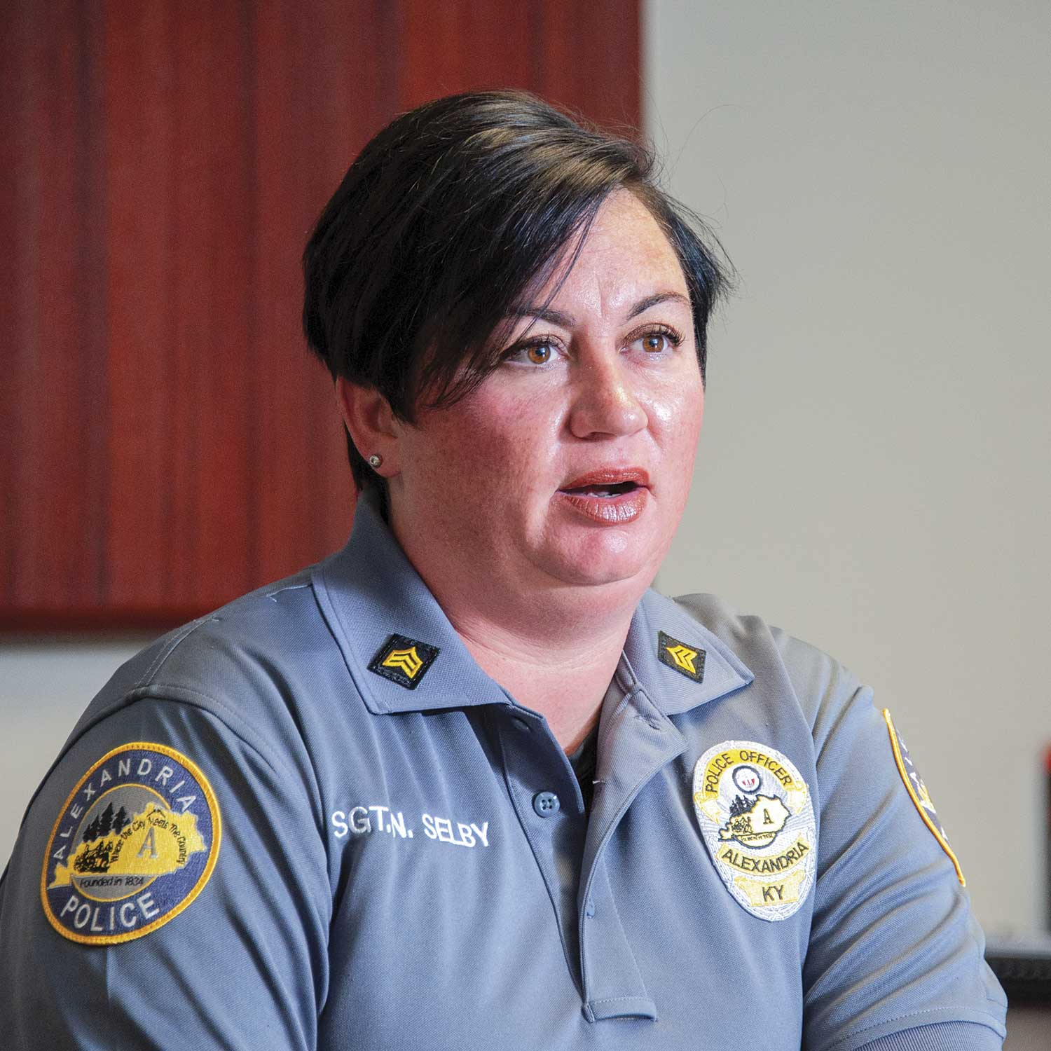 Alexandria Police Sgt. Natalie Selby said the Volunteers in Police Services group attends monthly trainings. The training sessions cover a wide spectrum of topics ranging from crisis intervention to radio procedures. (Photo by Jim Robertson)