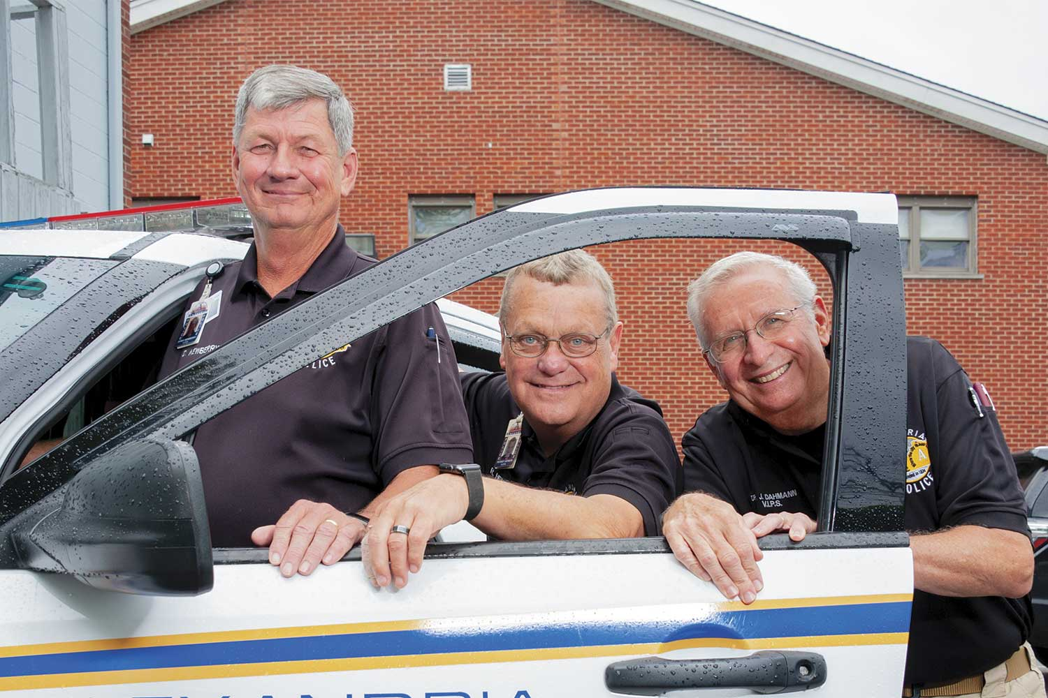 Alexandria Volunteer in Police Services members Denny Newberry, left, Rodney Henson, middle, and Dr. Jim Dahmann said the group responds in many different ways to help the Alexandria Police Department. It is not uncommon to see members of VIPS performing vacation and business checks and directing traffic at accident scenes. According to Police Chief Mike Ward, VIPS has also been used at crime scenes to help the APD. (Photo by Jim Robertson)