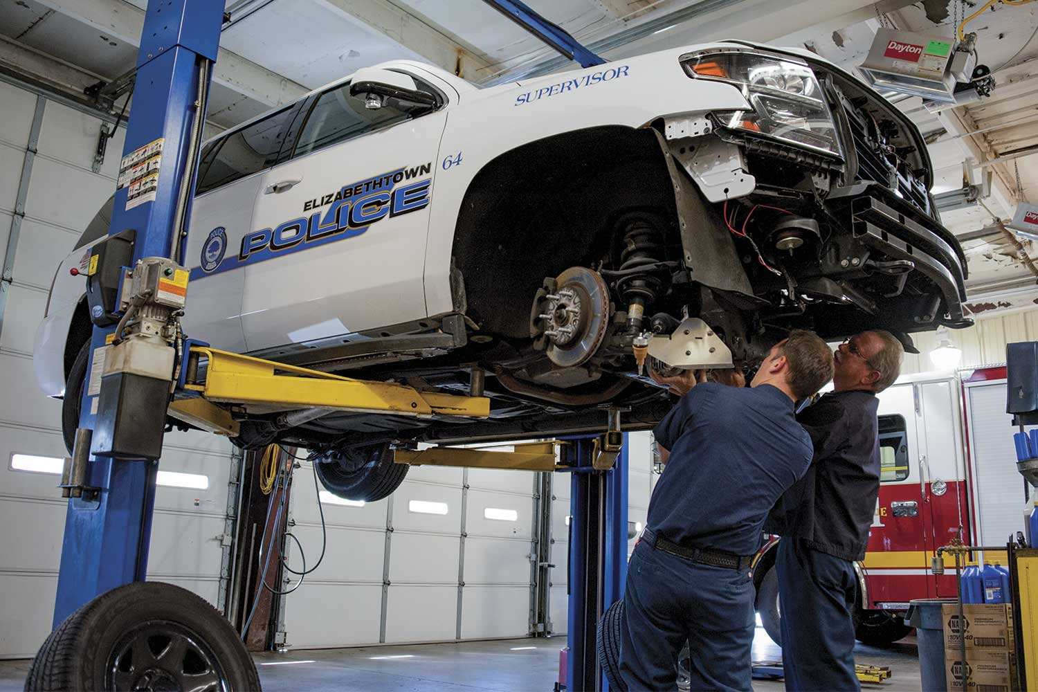 Unlike most Kentucky law enforcement agencies, Elizabethtown has its own Public Safety Garage inside the police department. PSG staff are responsible for vehicle maintenance, striping and repairing all police and fire vehicles. (Photo by Jim Robertson)