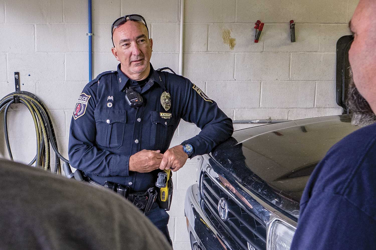 Bill Moore is the agency's full-time Crisis Intervention Team-trained police officer. He is often called to help handle calls relating to mental health issues. (Photo by Jim Robertson)