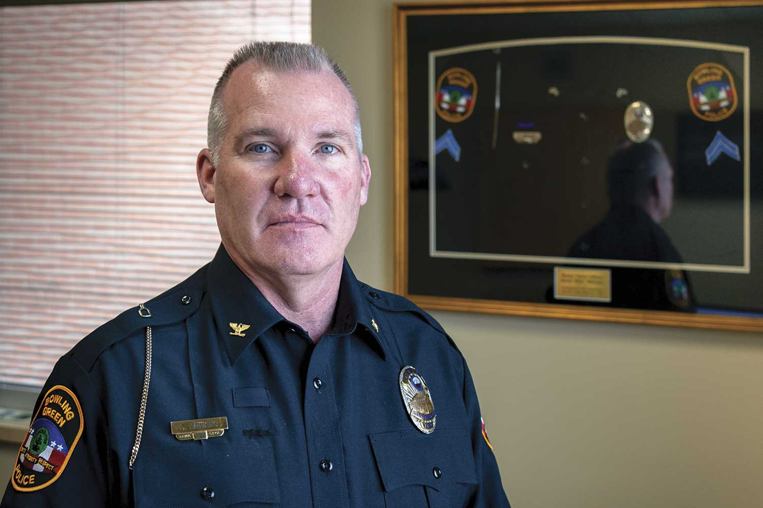Bowling Green Police Chief Doug Hawkins said police-related skills can be taught, however character is something people have or do not have. Hiring people with quality character is the first step in the development process. (Photo by Jim Robertson)
