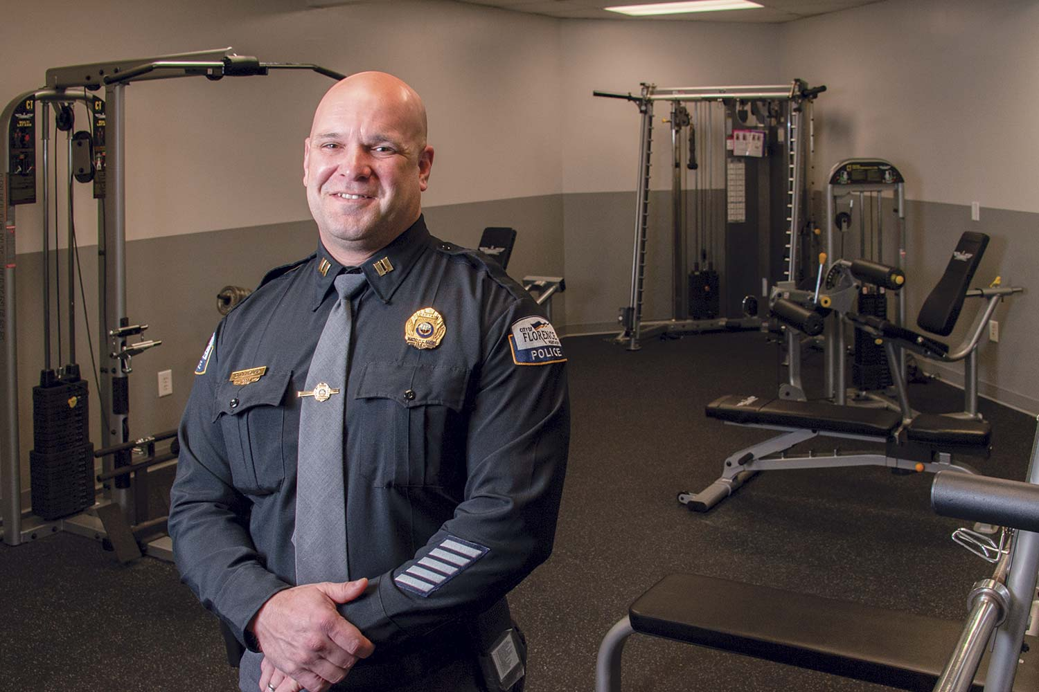 Capt. Greg Rehkamp said the agency's gym is popular among officers with the Florence Police Department. Additionally, he said if officers wish, they can go to an off-site gym, and the city will pay for a portion of the membership fee. (Photo by Jim Robertson)