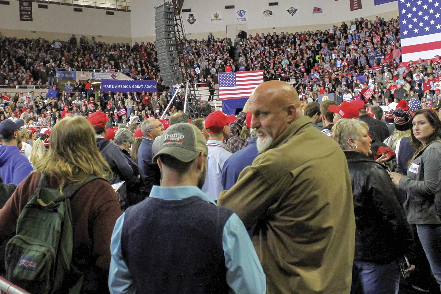 President Donald Trump visited Eastern Kentucky University in October 2018, leading EKUPD to quickly devise a plan for security and crowd control. (Photo by Nathan Hutchinson/The Richmond Register)