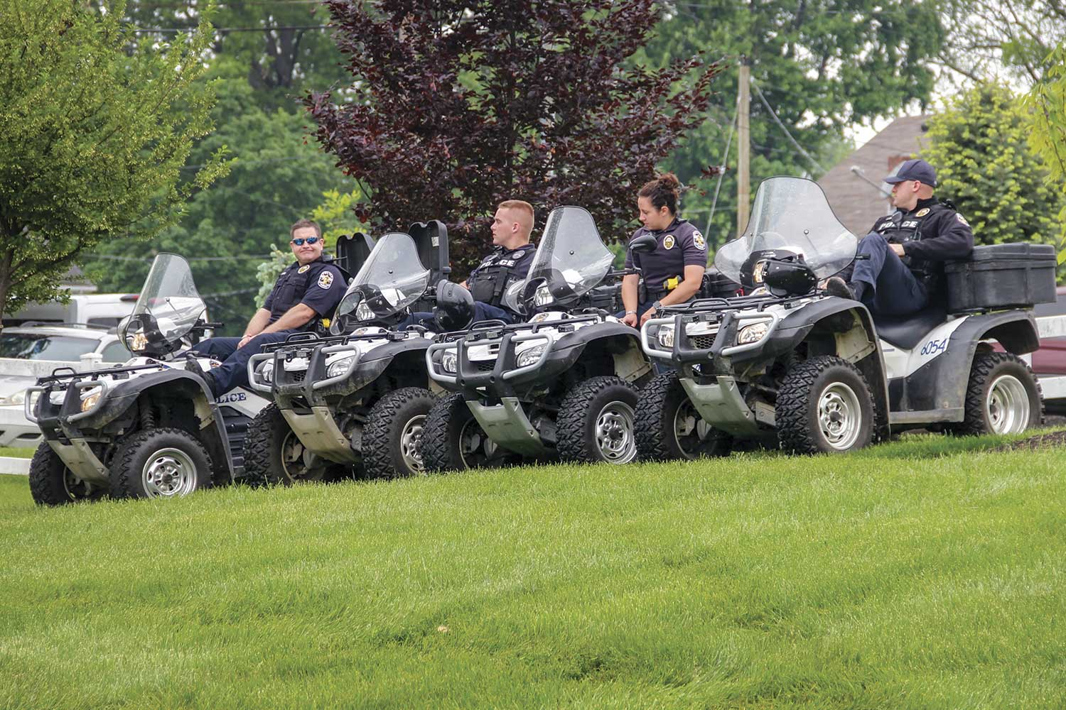 The Louisville Metro Police Department's Special Response Team keeps a mobile presence at the Kentucky Derby as they are able to respond to any situation at a moment's notice. (Photo by Michael A. Moore)