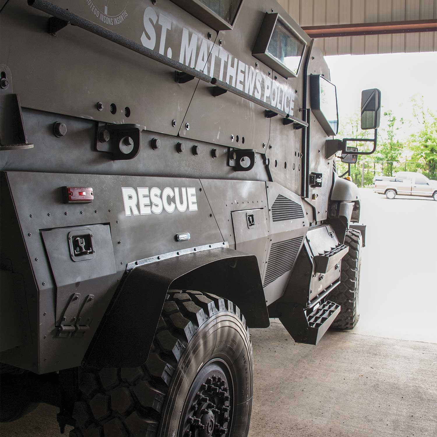 Recently, Saint Matthews Police Department acquired a Mine-Resistant-Ambush-Protected (MRAP) vehicle. Chief Barry Wilkerson explained the vehicle could be used in rescue scenarios or even flood situations. (Photo by Jim Robertson)