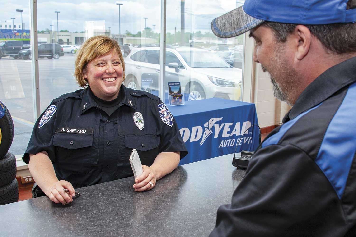 """Officer Barbara Shepard noted the importance of law enforcement developing relationship with the community. """"(Our) community is fabulous,"""" she said. """"They are very supportive."""" In return, SMPD strives to provide citizens with rapid-response time and superior service. (Photo by Jim Robertson)"""