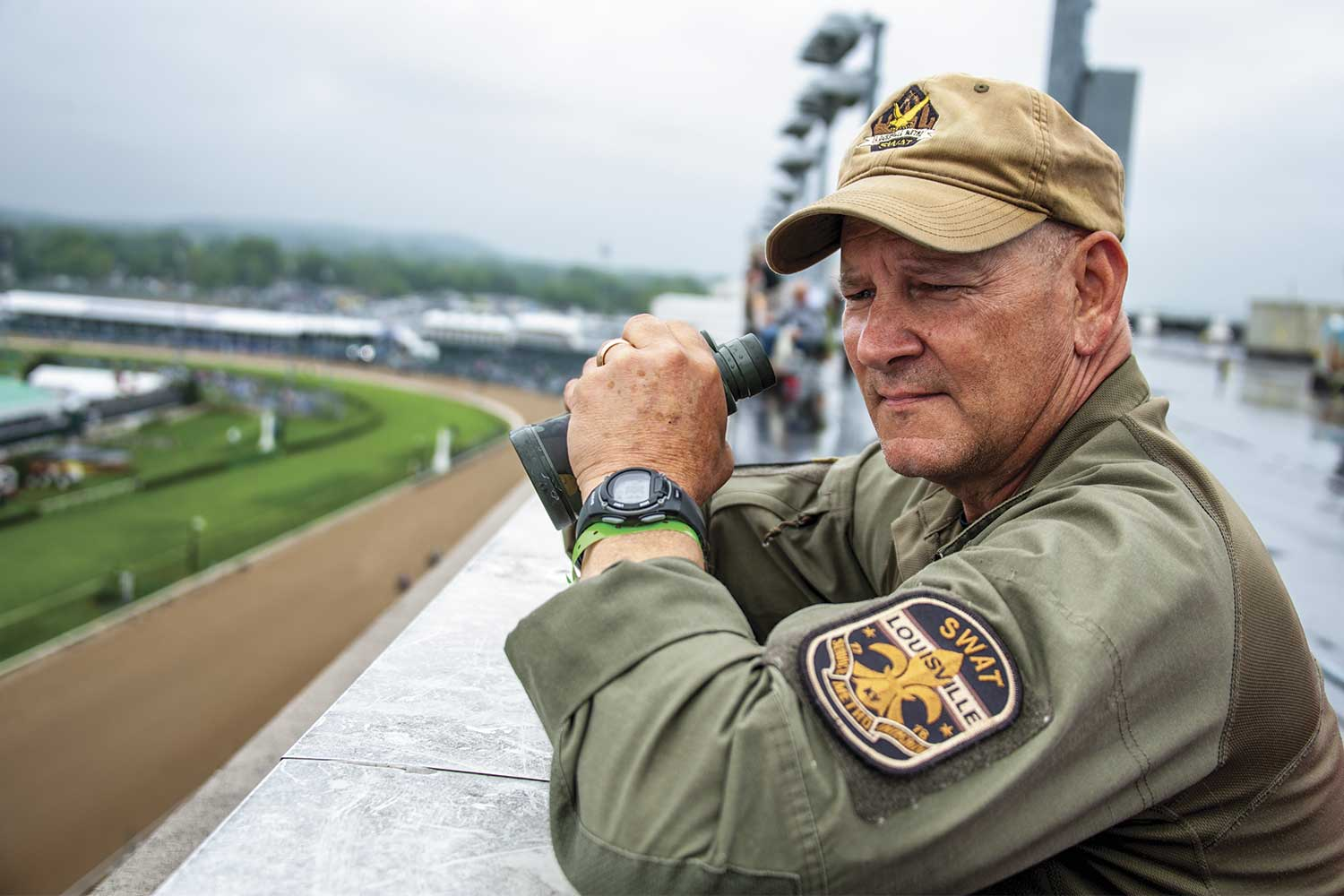 LMPD Sniper John Seymour, better known to most as Gunny, watched over his final Derby. Seymour retired just a few weeks after this year's Derby following 42 years of service to his country and LMPD. (Photo by Jim Robertson)
