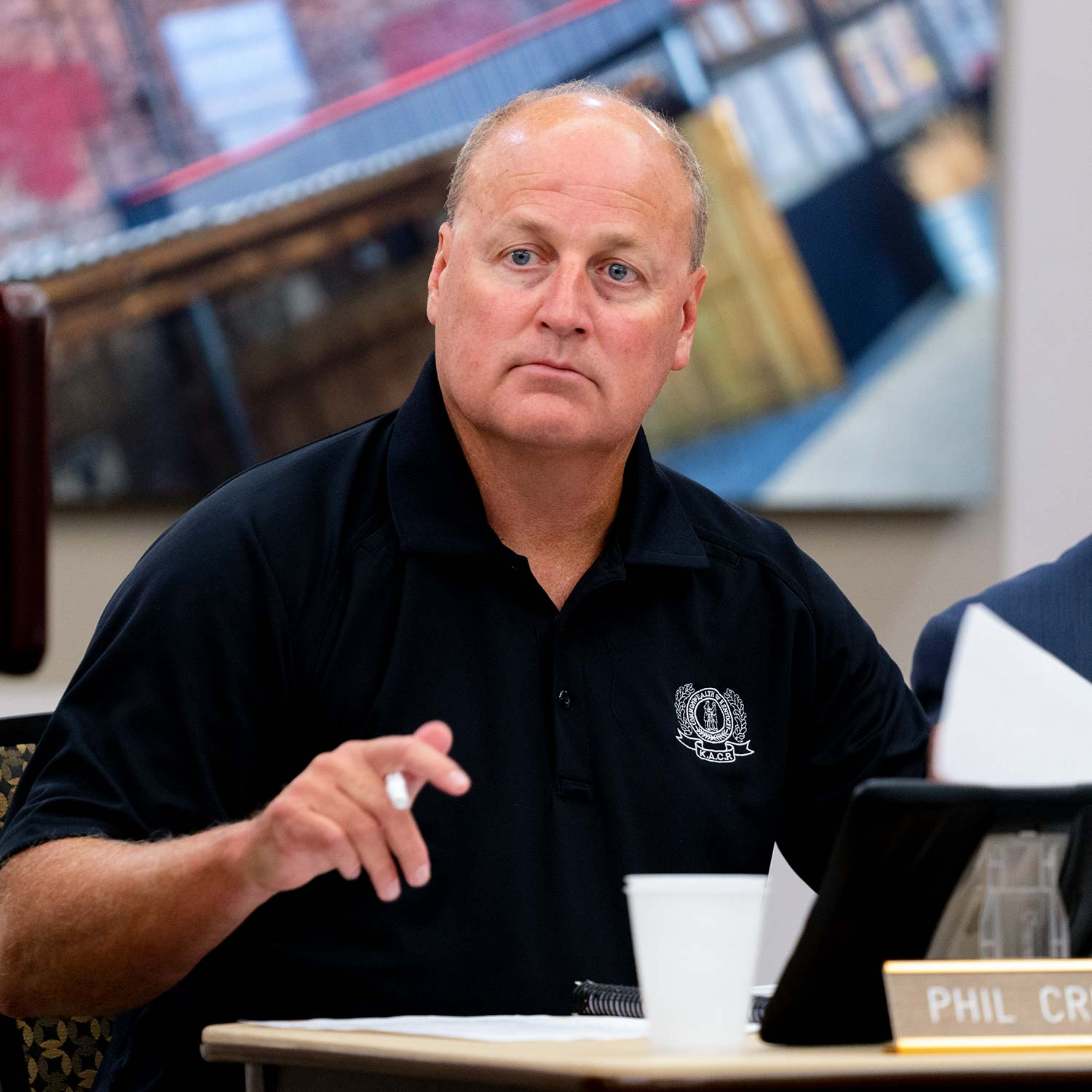 Kentucky Law Enforcement Council Executive Director Phil Crumpton during the Aug. 8 meeting.  (Photo by Jim Robertson)