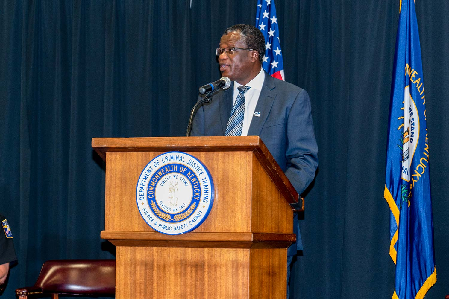 Bluegrass Community and Technical College President Dr. Koffi Akakpo speaks to attendees. (Photo by Jim Robertson)