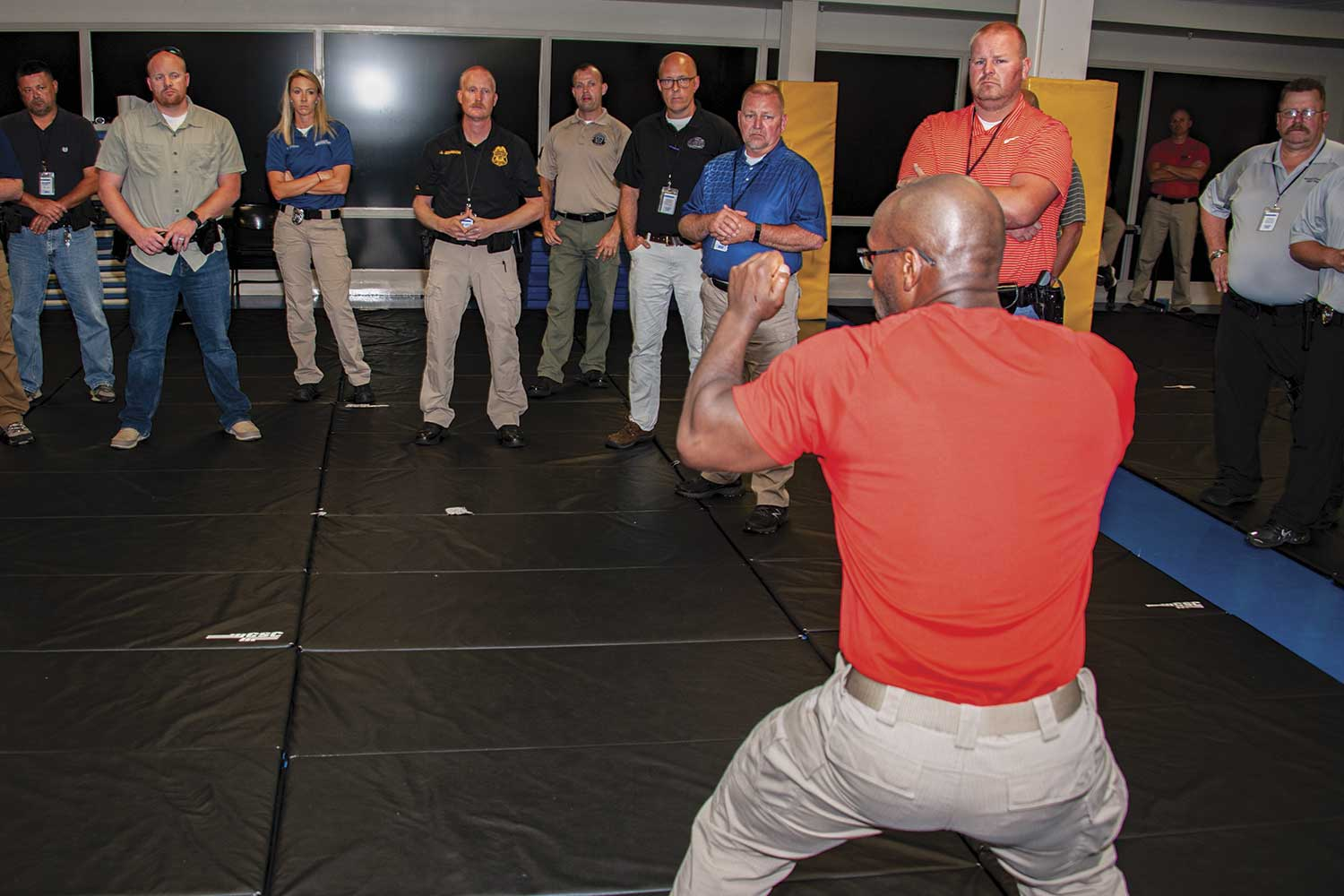 A portion of the new SRO curriculum focuses on defensive tactics, DOCJT instructor Bill Eckler said. Officers are taught they must deal with juveniles differently than adults. To that end, they are shown different pressure points and handcuffing techniques. (Photo by Jim Robertson)